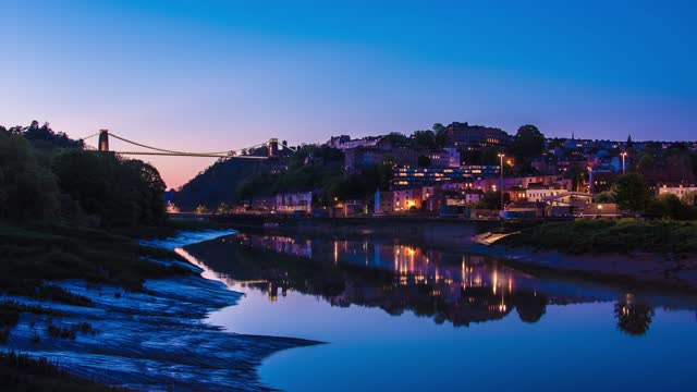 long exposure time lapse of the tide rising beneath clifton suspension bridge at sunset on august 19, 2020 in bristol, england. - tide stock videos & royalty-free footage