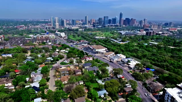 Long Extended Version Skyline over Austin , TX Barton Creek Greenbelt Area Aerial Drone Fly Over Austin Texas 2016 Greenbelt Springtime Gorgeous Capital City View from South Lamar Blvd with Skyline Cityscape Background