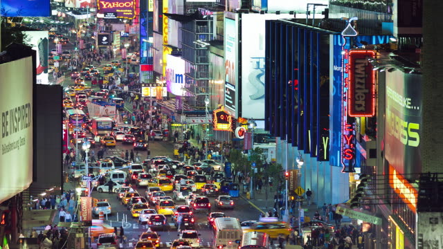 long focal night shot on broadway / time square, elevated view, traffic - western script stock videos & royalty-free footage