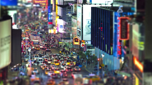Long focal night shot on Broadway / Time Square, elevated view, traffic, tilt-shift