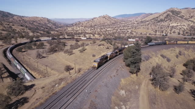 Long Freight Train Crossing Over Itself in Tehachapi Loop  - Aerial View
