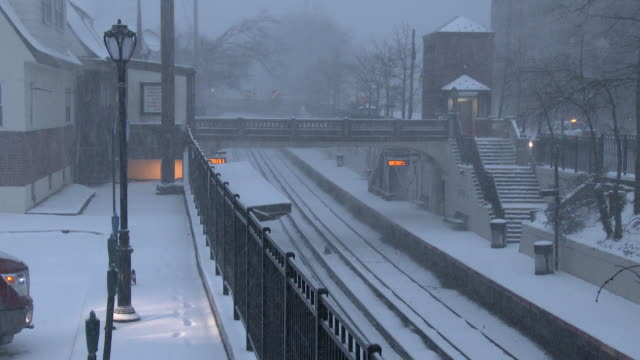 long island railroad station during a blizzard, heavy snow - nor'easter - long island railroad stock videos and b-roll footage