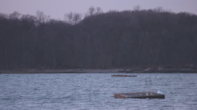 long island sound swimming platforms - floating moored platform stock videos & royalty-free footage