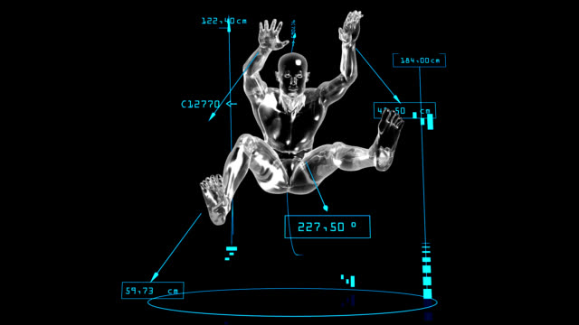3d long jump man with technical data - long jump stock videos & royalty-free footage