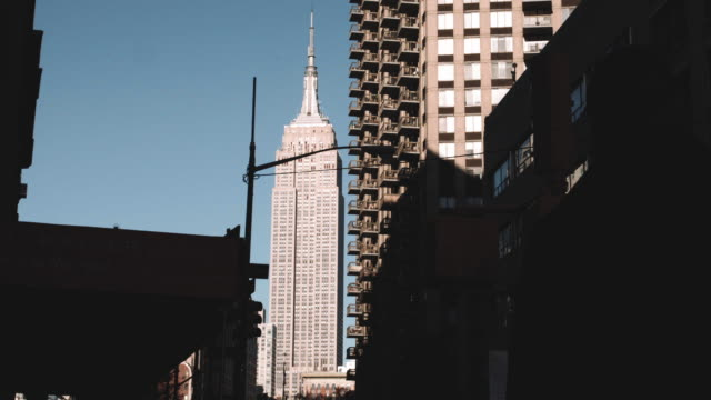 A long lens shot of New York City's Empire State Building