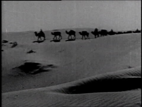 1936 ws long line of men riding camels rides across the desert dunes - camel stock videos & royalty-free footage