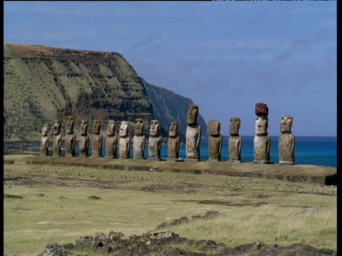long line of moai monolithic statues - polynesian culture stock videos & royalty-free footage