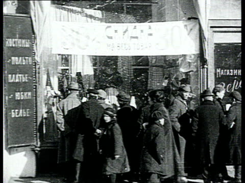 long live the soviet republic!. avant-garde movie about labor and nep everyday life. street scenes, shops, boy selling newspapers, girl selling... - moscow russia stock videos & royalty-free footage