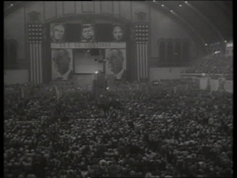 long shot 1964 democratic national convention hall / 1960's / sound - 1964 stock videos & royalty-free footage