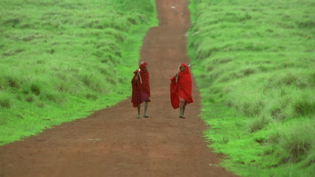 long shot 2 masai tribesmen in red robes walking on dirt road carrying tools / tanzania - tanzania stock videos & royalty-free footage