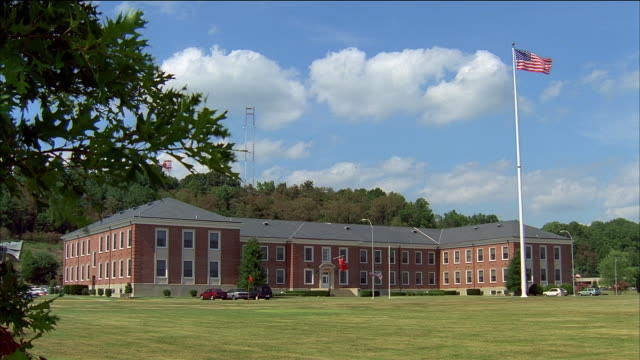 long shot academic building at marine corps base / quantico, virginia - 1990 stock videos & royalty-free footage