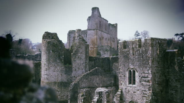 long shot across castle ruins. - vignette stock videos & royalty-free footage