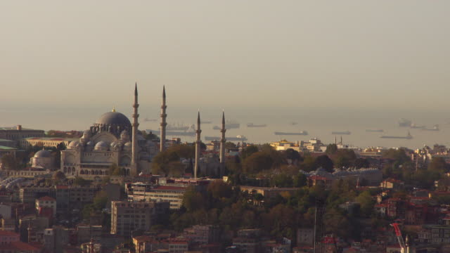 Long shot across Istanbul to the Hagia Sophia and the Bosphorus in the distance.