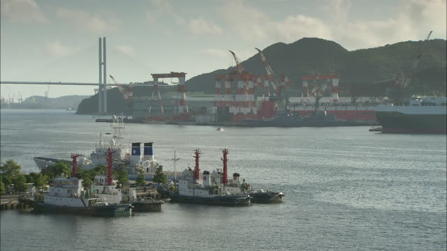 long shot across the port and harbour areas of nagasaki.  - real time footage stock videos & royalty-free footage
