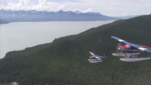 """""""long shot aerial tracking-left-seaplanes fly above forested alaskan mountains. / alaska, usa"""" - air to air shot stock videos & royalty-free footage"""