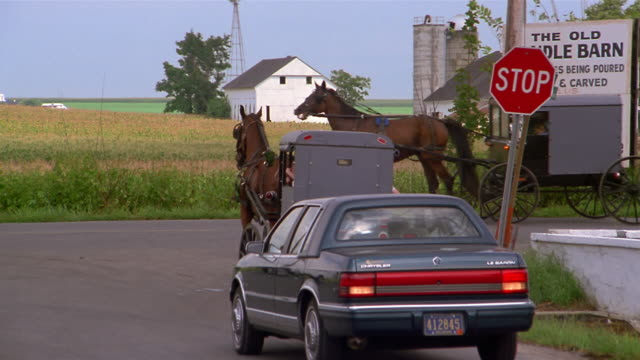 1993 long shot amish horse and buggy in front of car at stop sign / tracking shot another buggy turning onto street - schild stock-videos und b-roll-filmmaterial