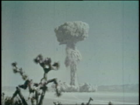 1952 long shot atomic bomb explosion in desert / Yucca Flats Nevada / newsreel