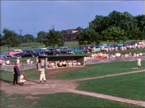 1958 long shot boy at bat in little league baseball game / bethlehem, pennsylvania / educational - youth baseball and softball league stock videos and b-roll footage