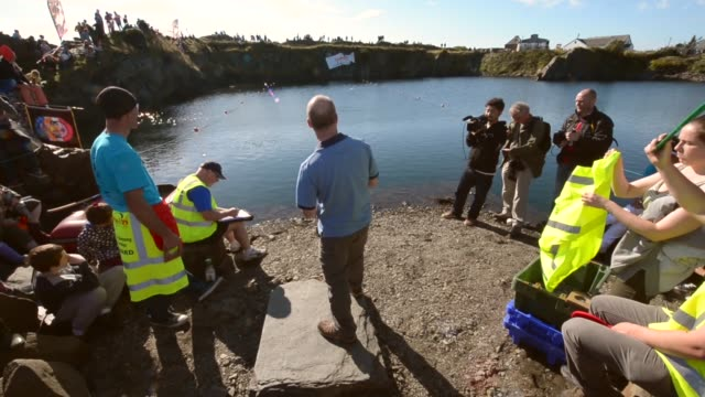 Long Shot competitors compete in the World Stone Skimming Championships held on Easdale Island on September 29 2013 in EasdaleSeilScotland The...