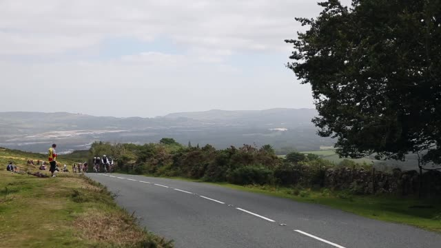 long shot cyclists riding uphill stage six of the tour of britain made history this year as it was the first stage to host a summit finish - tour of britain stock videos & royalty-free footage