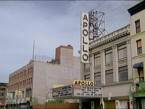 1995 long shot exterior of sign and marquee at the apollo theater / harlem, new york - harlem stock videos & royalty-free footage