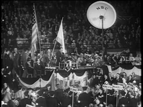b/w 1932 long shot franklin d roosevelt giving speech at podium at democratic convention / chicago - 1932 stock-videos und b-roll-filmmaterial