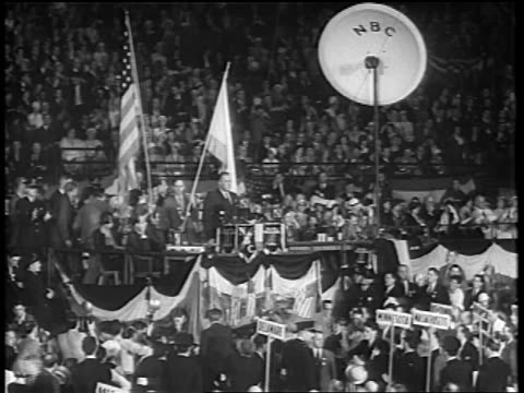 b/w 1932 long shot franklin d roosevelt giving speech at podium at democratic convention / chicago - 1932 stock videos and b-roll footage