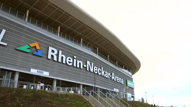 long shot, general view of the wirsol rhein-neckar arena prior to the bundesliga match between tsg 1899 hoffenheim and hertha bsc berlin at wirsol... - 1899 stock videos & royalty-free footage