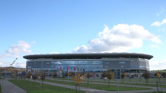 long shot, general view of the wirsol rhein-neckar arena prior to the bundesliga match between tsg 1899 hoffenheim and hertha bsc berlin at wirsol... - 1899 bildbanksvideor och videomaterial från bakom kulisserna