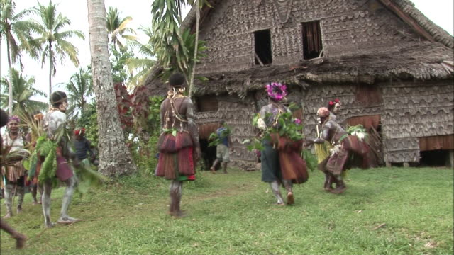 Long Shot hand-held - Indigenous people in traditional clothing dance outside a longhouse. / Papua New Guinea