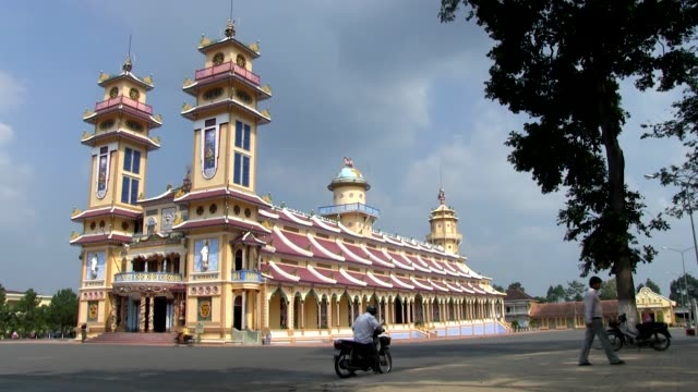 Long shot Holy See Temple of Cao Dai religion in Da Lat Shot on January 2016
