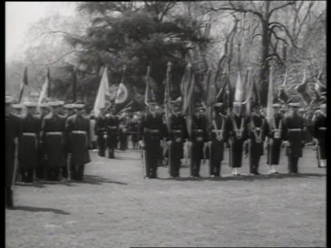 b/w long shot indira gandhi reviews us marine guard / 1960's / sound - indira gandhi stock videos & royalty-free footage