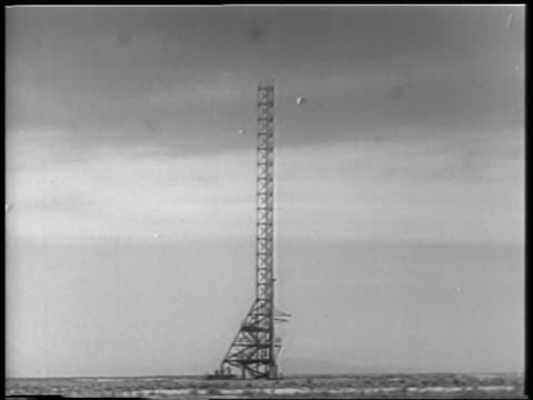 long shot launch tower for rocket carrying monkey + mice / white sands, nm / newsreel - 1952 stock videos & royalty-free footage