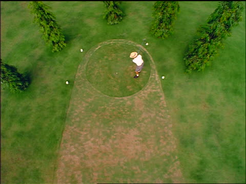 stockvideo's en b-roll-footage met overhead long shot male golfer teeing off on golf course - hoofddeksel