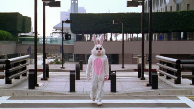 long shot man in rabbit costume crossing street / los angeles, ca - rabbit costume stock videos & royalty-free footage