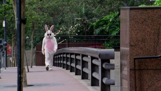 long shot man in rabbit costume walking across bridge / los angeles, ca - kelly mason videos stock videos & royalty-free footage