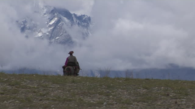 long shot man riding a horse taklakot tibet china - animale da lavoro video stock e b–roll