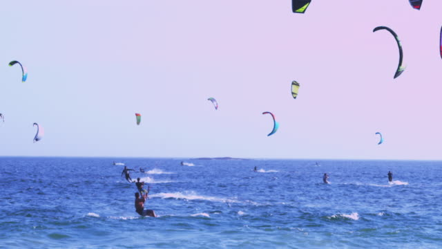 vídeos de stock, filmes e b-roll de long shot many kitesurfers over blue sea - panning