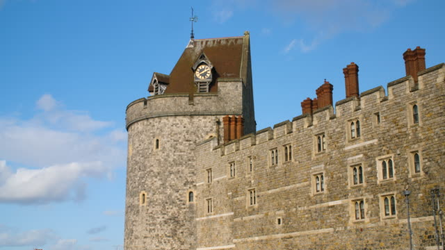 Long shot of a clock tower at Windsor Castle.