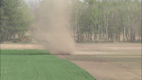 long shot of a dust devil swirling from the center to the left, japan - dammstorm storm bildbanksvideor och videomaterial från bakom kulisserna