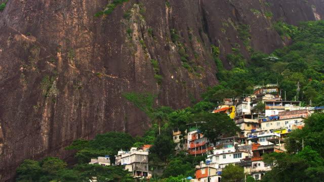 Long shot of a favela along the mountainside in Rio de Janeiro, Brazil