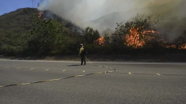 long shot of a firefighter pours water in burning bushes hundreds of firefighters continue to battle wind and dry conditions with over 18000 acres... - camarillo stock videos & royalty-free footage