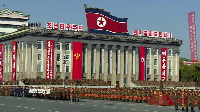 Long shot of a military band playing during a military parade at Kim Ilsung Square Pyongyang