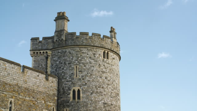 Long shot of a stone tower at Windsor Castle.