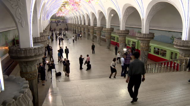 long shot of a subway station in pyongyang - pyongyang stock videos and b-roll footage