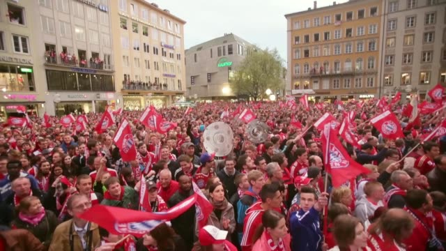 Long shot of Bayern Muenchen fans celebrating the German championship title at Marienplatz on May 11 2013 in Munich Germany FC Bayern Muenchen German...