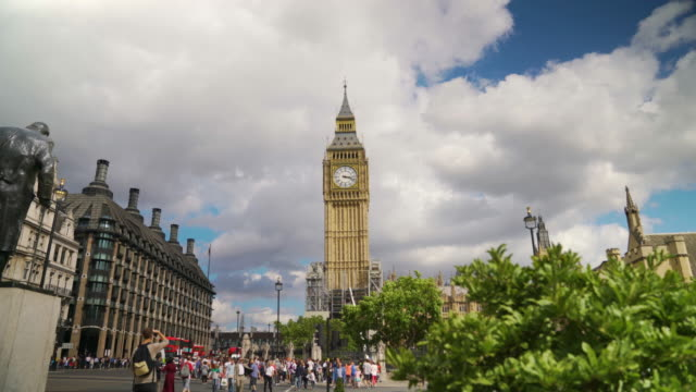 long shot of big ben taken from parliament square. - big ben stock videos & royalty-free footage