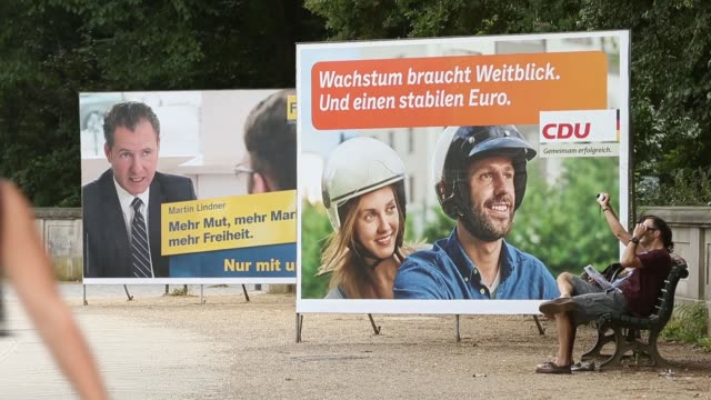 Long Shot of billboards with campaign advertisements Political advertisements are posted all over Berlin as the campaign for the 2013 German Federal...