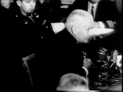 long shot of cordell hull taking seat / hull seated in front of committee / close up of hull / long shot of officials in senate caucus room / alben... - cordell hull stock videos and b-roll footage
