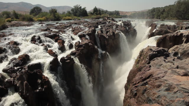 Long shot of Epupa Falls in Namibia